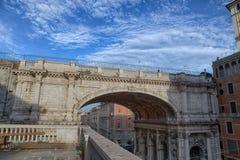 Monumantal Bridge Ponte Monumentale in XX September street, the main roadway in the city center of Genoa, Italy stock photography