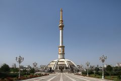 Monumen Arch of Independence in sunset. Ashkhabad. Turkmenistan stock photos