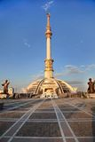 Monumen Arch of Independence in sunset. Turkmenistan. Stock Image