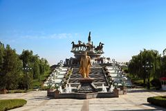 Monumen van Niyazov en plastische samenstelling Stock Afbeelding