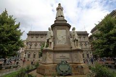 Monument à Leonardo da Vinci à Milan photo libre de droits