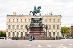 Monument à Nicholas I sur la place de St Isaac photos libres de droits