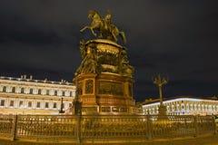 Monument à Nicholas 1 sur St Isaac Square Images libres de droits