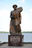 Monument à Vasily Margelov sur le Dnieper Images libres de droits