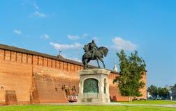 Monument équestre à Dmitry Donskoy dans Kolomna, région de Moscou, Russie photos libres de droits
