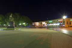 Monument. Night square in the city of Taganrog Royalty Free Stock Photo
