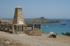 Monument. Greek monument near the ancient town Lindos. Rhodes, Greece Royalty Free Stock Image