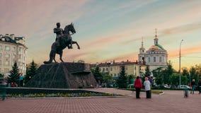 Monument aan Algemene Yermolov, de stad van Orel, Rusland stock footage
