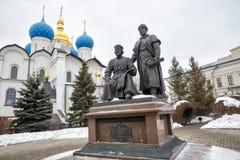 Monument aan architect van Kazan het Kremlin stock afbeelding