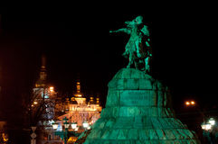 Monument aan Bohdan Khmelnitsky in Kiev stock foto's