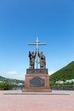 Monument aan de Heilige Apostelen Peter en Paul in Stad Petropavlovsk-Kamchatsky stock afbeelding