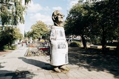 Monument aan de ingezetene van Muenster genoemd Paul Wolfe Hij wijdde zijn leven aan de strijd tegen Nazisme royalty-vrije stock afbeelding