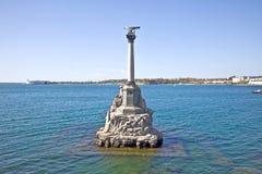 Monument aan de overstroomde schepen, symbool van stad Sebastopol Stock Foto