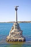 Monument aan de overstroomde schepen, symbool van stad Sebastopol Stock Foto's