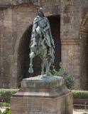 Monument aan de ruiter op een paard in Barcelona, Spanje stock afbeeldingen