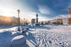Monument aan de Russische Keizer Alexander het Derde Novosibirsk, Rusland royalty-vrije stock foto