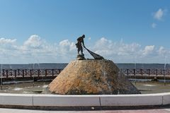 Monument aan de visser in de stad van Chetumal, Mexico Royalty-vrije Stock Foto