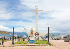 Monument aan Don Eduardo Avaroa in Copacabana, Bolivië Stock Fotografie