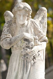 Monument aan een engel op een begraafplaats Royalty-vrije Stock Foto's