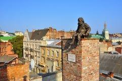 Monument aan een schoorsteenveger, dak royalty-vrije stock afbeelding