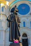 Monument aan Fyodor Ushakov in Kronstadt stock afbeelding