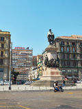 Monument aan Giuseppe Garibaldi in Napels Campania, Italië Stock Fotografie