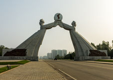 Monument aan het Three-Point Handvest voor Nationale Hereniging, Pyongyang Noord-Korea Stock Fotografie