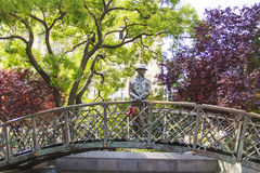 Monument aan Imre Nagy, Eerste minister in Boedapest, Hongarije royalty-vrije stock fotografie