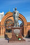 Monument aan Keizer Nicolaas II en Prins Alexei Novosibirsk, royalty-vrije stock fotografie