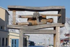 Monument aan mijnwerker Showplace in Longyearbyen, Spitsbergen (Svalb stock fotografie