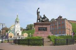 Monument aan Minin en Pozharsky op het vierkant van Peopl-eenheid Nizhny Novgorod Stock Afbeeldingen