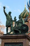 Monument aan Minin en Pozharsky op Rood Vierkant in Moskou Stock Foto