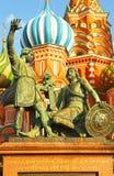 Monument aan Minin en Pozharsky op Rood Vierkant, Moskou, Rusland stock fotografie