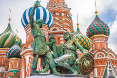 Monument aan Minin en Pozharsky op Rood Vierkant Moskou, Rusland Royalty-vrije Stock Fotografie