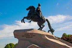 Monument aan Peter de Grote, Bronsruiter aan de kant Stock Afbeeldingen