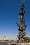 Monument aan Peter Groot in Moskou. Stock Foto's