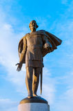 Monument aan prins Alexander Yaroslavich Nevsky, close-upmening - beeldhouw oriëntatiepunt van Veliky Novgorod, Rusland Royalty-vrije Stock Foto's