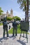 Monument aan Santiago Rusinol en Ramon Casas op 27 Juni, 2017 in Sitges, Spanje Royalty-vrije Stock Afbeelding