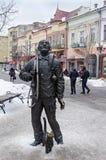 Monument aan schoorsteenveger in Mukachevo royalty-vrije stock fotografie