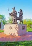 Monument aan Schotse Immigranten in Penn Landing van Philadelphia stock foto