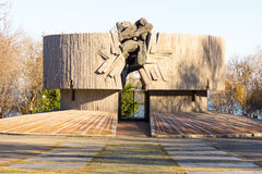 Monument aan verdedigers van Bulgarije in Wereldoorlog II in het kustpark Burgas, december Royalty-vrije Stock Afbeeldingen