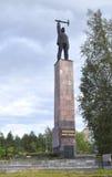 Monument aan Veroveraars monche-Toendra, die zich bij ingang aan stad bij begin van wegmetallurgen bevindt Stock Foto's