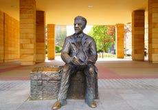 Monument aan Wladyslaw Reymont (1867-1925), een Poolse romanschrijver en een de Nobelprijslaureaat van 1924 in Lodzte Stock Foto's
