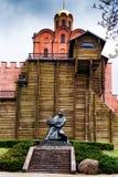 Monument aan Yaroslav Wijs bij de Gouden Poorten Kyiv stock foto