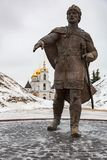 Monument aan Yuri Dolgoruky, Dmitrov, Rusland royalty-vrije stock afbeeldingen