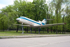The monument of airplane Yak 40 Royalty Free Stock Photo