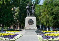 Monument of Alexandr Pushkin and Vladimir Dal in Orenburg Royalty Free Stock Photos