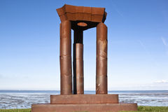 Monument along Waddenzee near Noordkaap, Holland stock photography