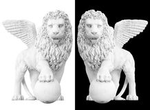 Monument ancient lion. Statue of lion isolated on black and white background royalty free stock images