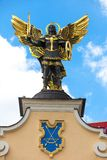 Monument of Angel in Kiev, independence square. Downtown of a capital royalty free stock photo
